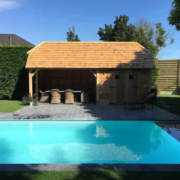 Houten bijgebouw voor uw tuin aanleg zwembad in je tuin for Houten zwembad bouwen